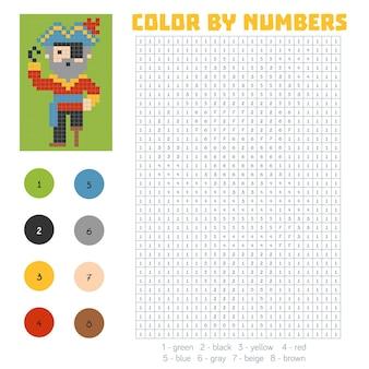 Kolorowanie według numeru, gra edukacyjna dla dzieci, pirat