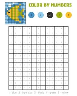 Kolorowanie według numeru, gra edukacyjna dla dzieci, ryby