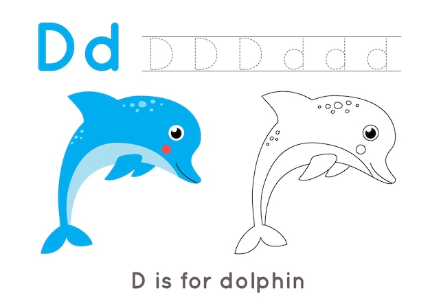 Kolorowanka alfabet dla dzieci. podstawowa aktywność pisemna. śledzenie arkusza z literami abc. litera d z uroczym delfinem.