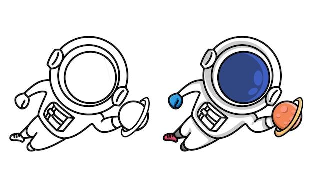 Kolorowanka astronauta skaczący bramkarz łapie planetę dla dzieci