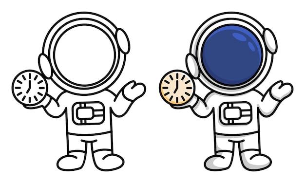 Kolorowanka astronauta trzymająca zegar w dłoniach dla dzieci