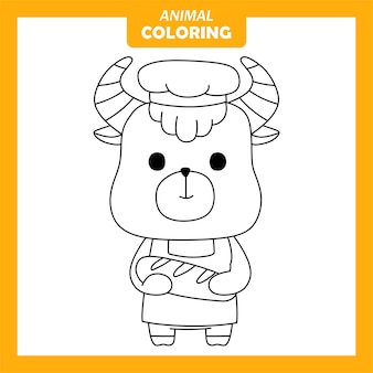 Kolorowanka cute animal yak baker job zawód