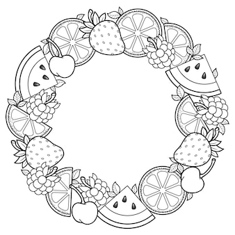Kolorowanka dla dorosłych okrągła ramka arbuz truskawki cytrusy wiśnie i truskawki czarno-białe