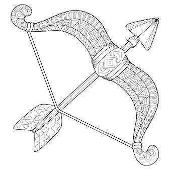 Kolorowanka dla dorosłych. sylwetka strzały i łuk na białym tle. znak zodiaku strzała strzelca