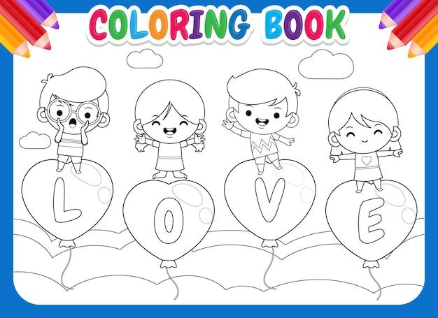 Kolorowanka dla dzieci 4 szczęśliwe dzieci na latający balon miłości