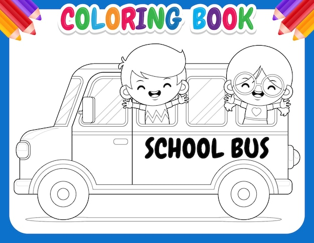 Kolorowanka dla dzieci. autobus szkolny z szczęśliwymi dziećmi