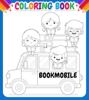 Kolorowanka dla dzieci. cartoon bookmobile z happy kids