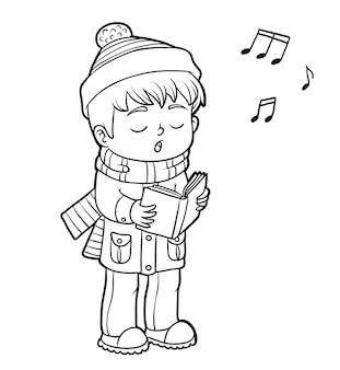 Kolorowanka dla dzieci, chłopiec śpiewający bożonarodzeniową piosenkę