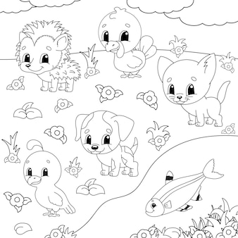 Kolorowanka dla dzieci. clipartów zwierząt.
