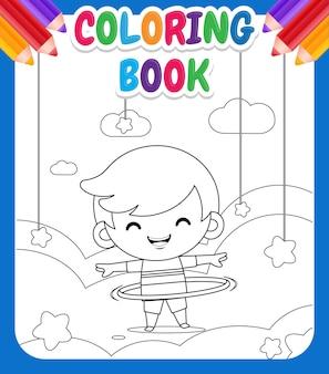 Kolorowanka dla dzieci. cute little boy grając hula hoop w chmurze
