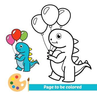 Kolorowanka dla dzieci dinozaur bawiący się balonami wektor
