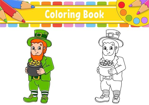 Kolorowanka dla dzieci. dzień świętego patryka. postać z kreskówki.