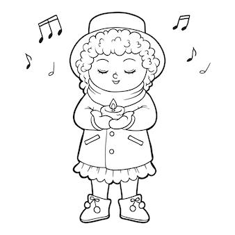 Kolorowanka dla dzieci, dziewczyna śpiewająca świąteczną piosenkę