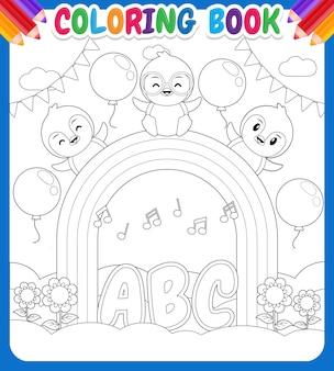 Kolorowanka dla dzieci happy penguins on rainbow sky garden