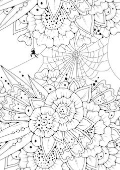 Kolorowanka dla dzieci i dorosłych. czarno-białe kwiaty, pajęczyna i pająk. ilustracja do kolorowania.