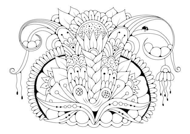 Kolorowanka dla dzieci i dorosłych w stylu doodle z kwiatami i biedronką. czarno-biała ilustracja do kolorowania.