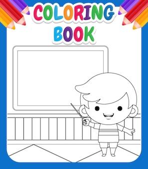 Kolorowanka dla dzieci. ilustracja cute boy nauczania alfabetu przed tablicą kredą ze wskaźnikiem