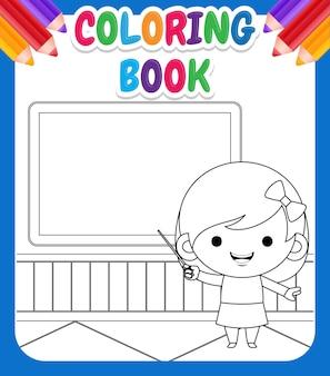 Kolorowanka dla dzieci. ilustracja cute girl nauczania alfabetu przed tablicą kredą ze wskaźnikiem