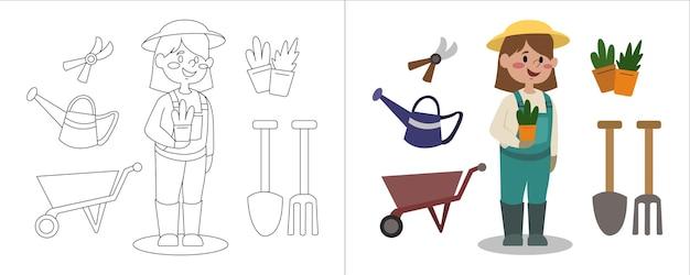 Kolorowanka dla dzieci ilustracja ogrodnik z jej sprzętem