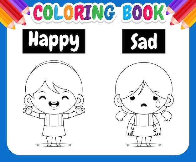 Kolorowanka dla dzieci ilustracja z uroczą dziewczyną rysującą nauczanie przeciwnych słów szczęśliwy i smutny