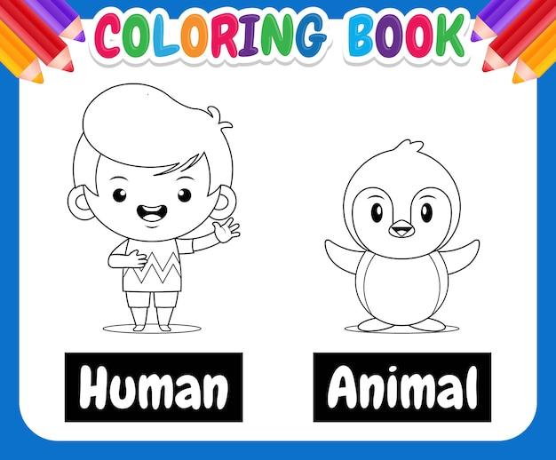 Kolorowanka dla dzieci ilustracja z uroczym chłopcem i pingwinem uczącym przeciwnych słów