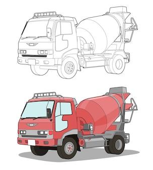 Kolorowanka dla dzieci kreskówka ciężarówka betonomieszarka