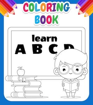 Kolorowanka dla dzieci. kreskówka ładny chłopiec uczeń czytający z tablicą kredową na tle