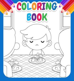 Kolorowanka dla dzieci. kreskówka ładny mały chłopiec nie chce jeść warzyw