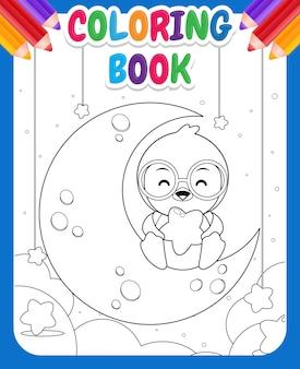 Kolorowanka dla dzieci. kreskówka szczęśliwy pingwin siedzi na księżycu i trzyma gwiazdy na kolanach