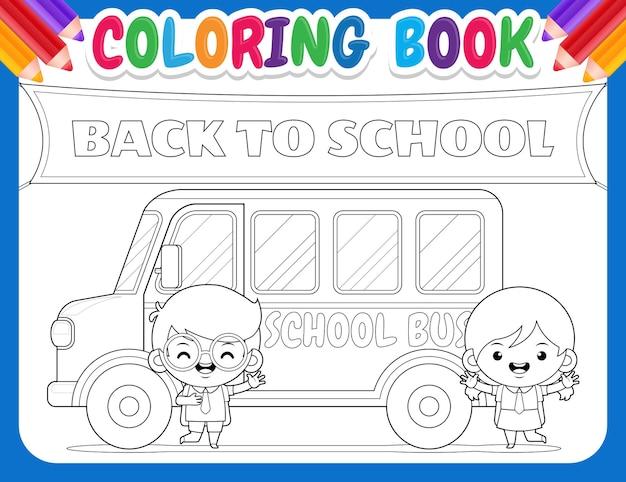 Kolorowanka dla dzieci. kreskówka uczeń z autobusem powrót do szkoły