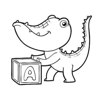 Kolorowanka dla dzieci, krokodyl i sześcian