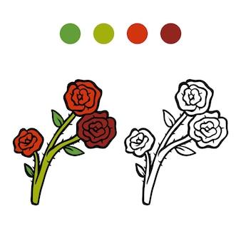 Kolorowanka dla dzieci, kwiat róża
