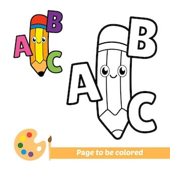 Kolorowanka dla dzieci ołówek z wektorem alfabetu