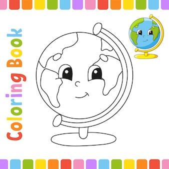 Kolorowanka dla dzieci. powrót do szkoły. wesoły charakter. ilustracji wektorowych.