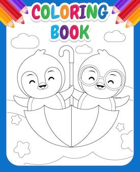 Kolorowanka dla dzieci. rysunek, pingwin, jazda konna, latający parasol, ilustracja
