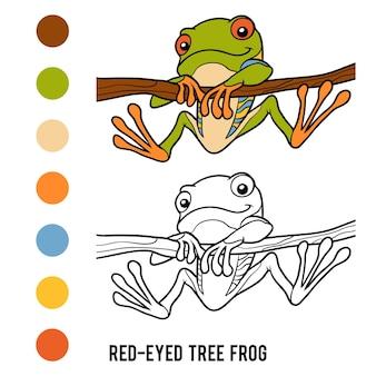 Kolorowanka dla dzieci, rzekotka czerwonooka