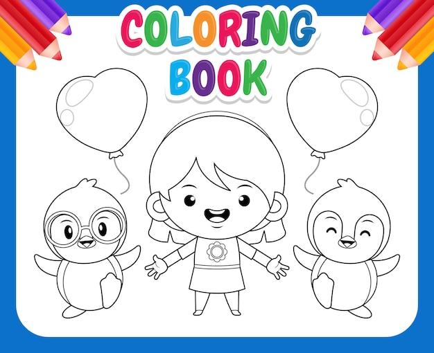 Kolorowanka dla dzieci. śliczna dziewczyna i pingwiny