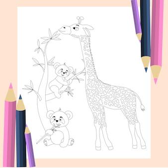 Kolorowanka dla dzieci. śliczna żyrafa i pandy w stylu kreskówek.