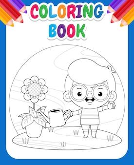 Kolorowanka dla dzieci śliczny chłopiec ogrodnictwo i sadzenie