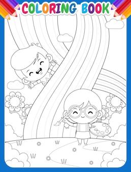 Kolorowanka dla dzieci. słodka dziewczyna malująca tęczę ze szczęśliwym chłopcem