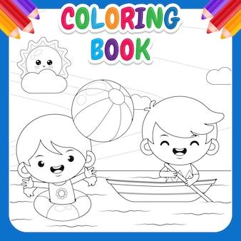 Kolorowanka dla dzieci. szczęśliwa słodka dziewczyna grająca w piłkę plażową i słodki chłopiec jadący łodzią po morzu