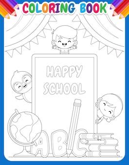 Kolorowanka dla dzieci. szczęśliwe dzieci w wieku szkolnym i pingwin