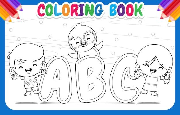 Kolorowanka dla dzieci. szczęśliwy chłopiec dziewczyna i pingwin z alfabetu