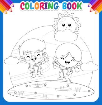 Kolorowanka dla dzieci. szczęśliwy słodki uczeń skaczący w ogrodzie