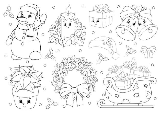 Kolorowanka dla dzieci. wesołych świąt bożego narodzenia. wesołe postacie.