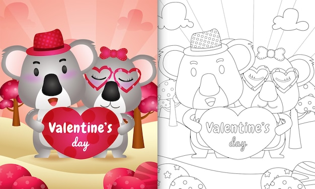 Kolorowanka dla dzieci z ilustracją cute valentine's day koala para