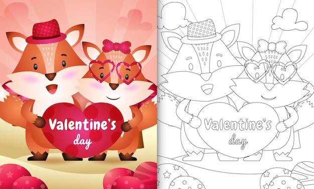 Kolorowanka dla dzieci z ilustracją para cute fox walentynki