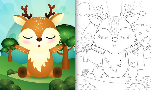 Kolorowanka dla dzieci z uroczą ilustracją postaci jelenia