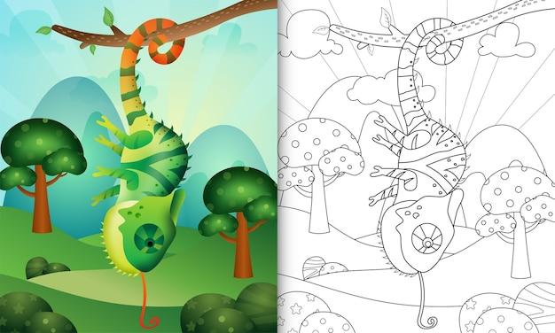 Kolorowanka dla dzieci z uroczą ilustracją postaci kameleona