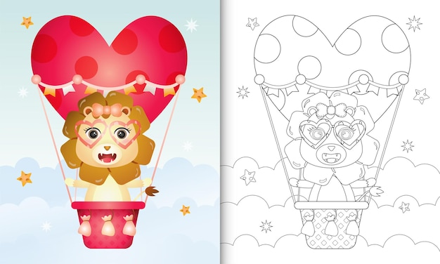 Kolorowanka dla dzieci z uroczą lwicą na balonie uwielbiam walentynki o tematyce